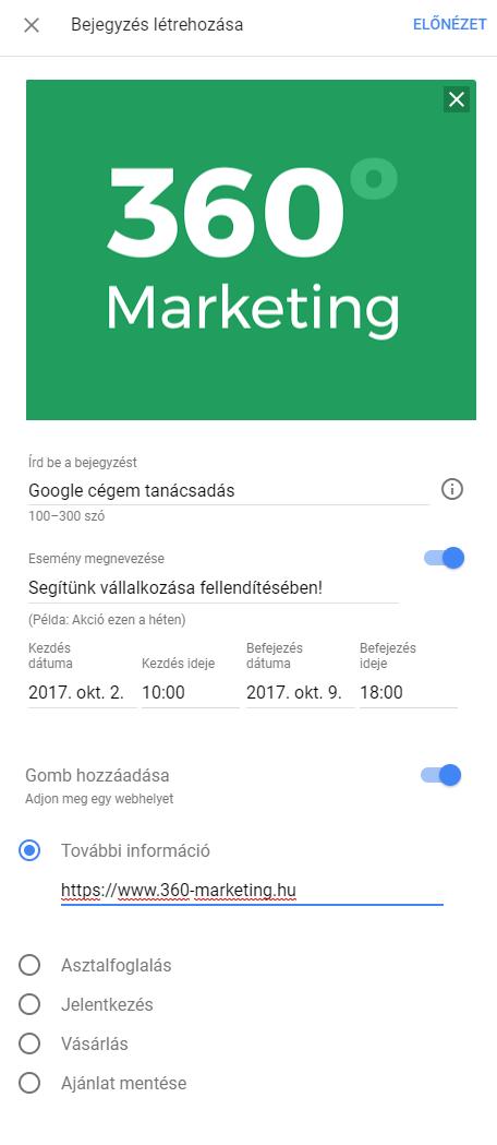 Google Cégem: Bejegyzések