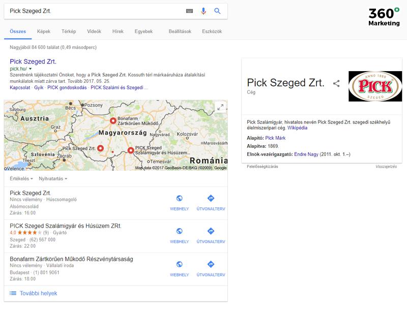 Pick Szeged megjelenítése