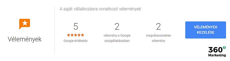 Google cégem: Vélemények statisztika