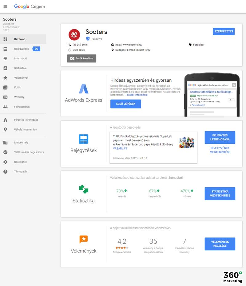 Google Cégem: Információ menüpont