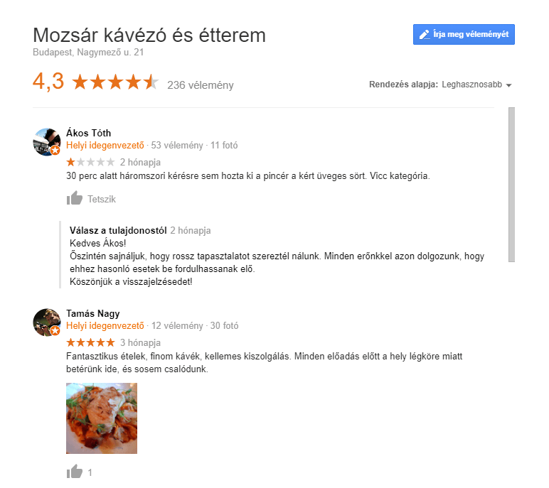 Étterem marketing stratégia - vásárlói vélemények