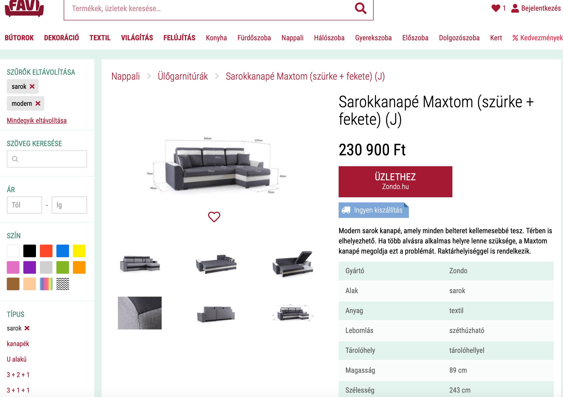 Bútor kereső árukereső