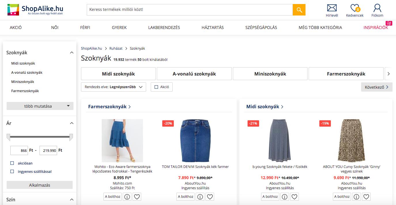 ruha webáruház - árösszehasonlító